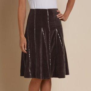 Soft Surroundings Mocha Velour Sequined Skirt M